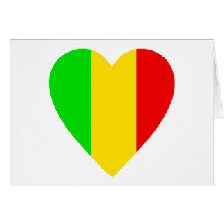 Rasta Colored Heart Card
