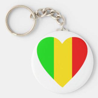 Rasta Colored Heart Key Chain
