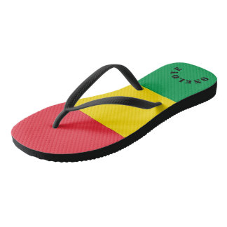 Rasta Colors Green Yellow Red Stripes Flag Pattern Flip Flops