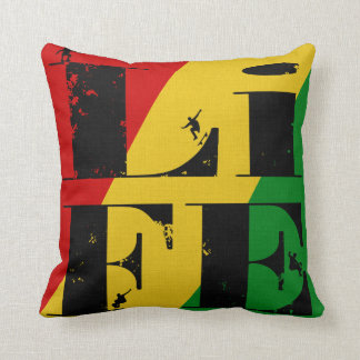 Rasta Colors Skateboard Life Throw Pillow Throw Cushions