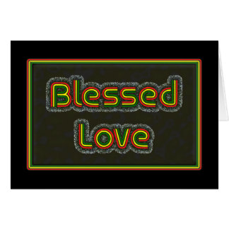 Rasta Colour Bold text  'Blessed Love' card