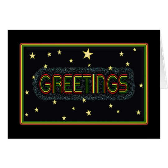 Rasta Colour Bold text 'Greetings' card