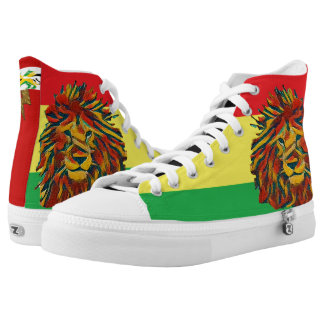 Rasta colour lion red high tops printed shoes