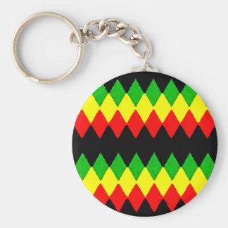 Rasta Diamonds Red Gold and Green Jah Rastafari Keychains