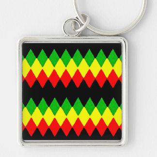 Rasta Diamonds. Red Gold and Green. Jah Rastafari Silver-Colored Square Key Ring