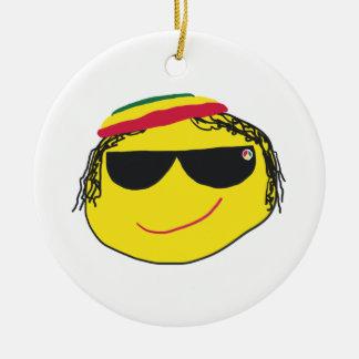Rasta Emoji Round Ceramic Decoration