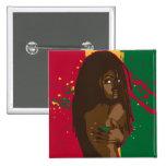 Rasta Girl 15 Cm Square Badge