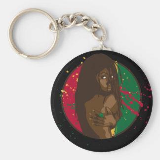 Rasta Girl Basic Round Button Key Ring