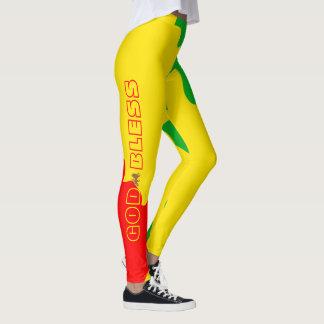 Rasta God Bless Red Green Gold Leggings (1)