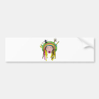 rasta hippie babe bumper sticker