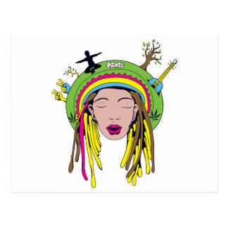 rasta hippie babe postcard