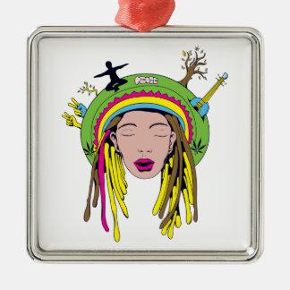 rasta hippie babe Silver-Colored square decoration