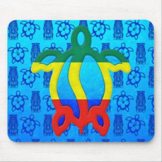Rasta Honu Blue Tiki Mouse Pads