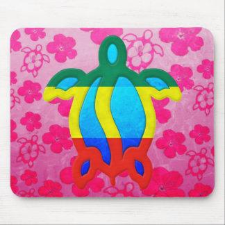Rasta Honu Pink Hibiscus Mouse Pad