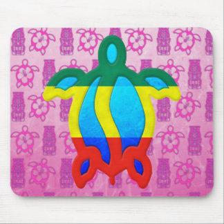 Rasta Honu Pink Tiki Mouse Pad