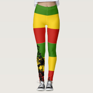 Rasta Leggings Red Gold Green Roaring Lion