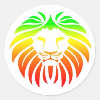 Rasta Lion Head Round Sticker