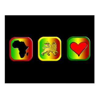 Rasta Map of Africa One Love Lion of Judah Postcard
