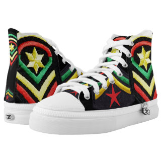 Rasta Military Stars Hi Top Shoes Printed Shoes