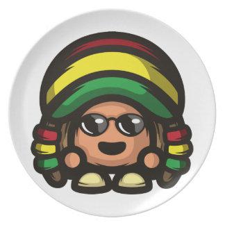 Rasta Mushroom Party Plate