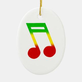 Rasta Music Note Ceramic Oval Decoration