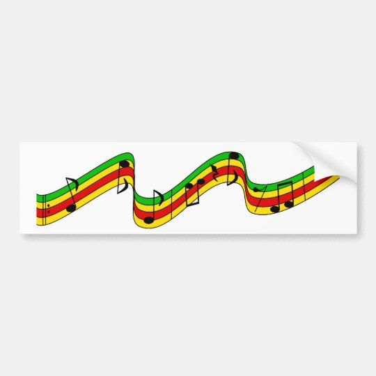 Rasta Music Staff Bumper Sticker