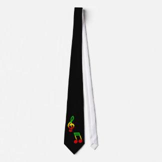 Rasta Note and Treble Clef Black Tie