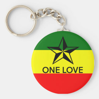 Rasta One Love Keyring Basic Round Button Key Ring