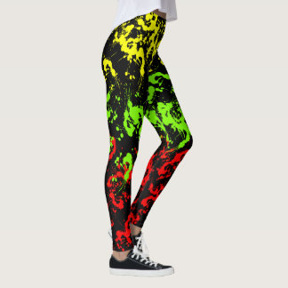 Rasta Paint Splatter Women's Leggings