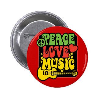 Rasta Peace Love Music Pins