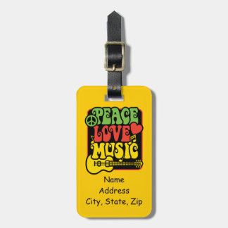 Rasta Peace Love Music Luggage Tag