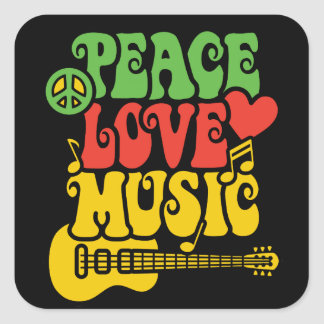 Rasta  Peace-Love-Music Square Sticker