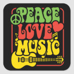 Rasta Peace Love Music Square Stickers