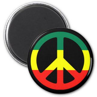 rasta peace sign 6 cm round magnet
