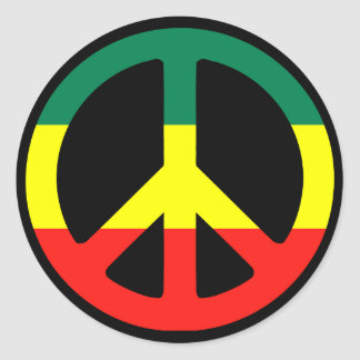 Rasta Peace Sign Classic Round Sticker