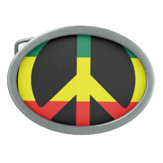 Rasta Peace Sign Oval Belt Buckles