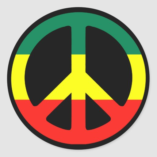 Rasta Peace Sign Round Sticker