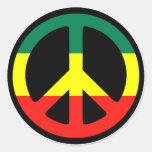 Rasta Peace Sign Round Sticker