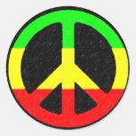 Rasta Peace-Sign Round Stickers