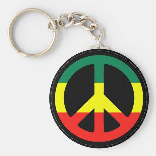 Rasta Peace Symbol Basic Round Button Key Ring