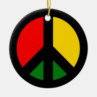 Rasta Peace Symbol Christmas Ornament