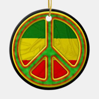 Rasta Peace Symbol Round Ceramic Decoration
