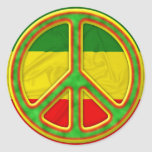 Rasta Peace Symbol Round Sticker