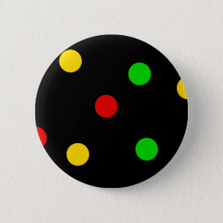 Rasta Polka Dots on Black 6 Cm Round Badge