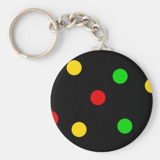 Rasta Polka Dots on Black Basic Round Button Key Ring