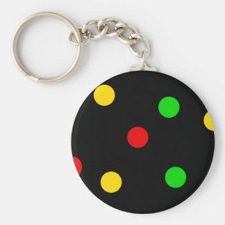 Rasta Polka Dots on Black Key Ring