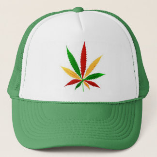 rasta pot leaf trucker hat