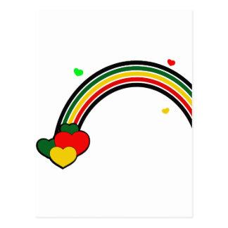 Rasta Rainbow and Hearts Postcard