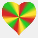 Rasta Rays Green Yellow and Red Heart Sticker