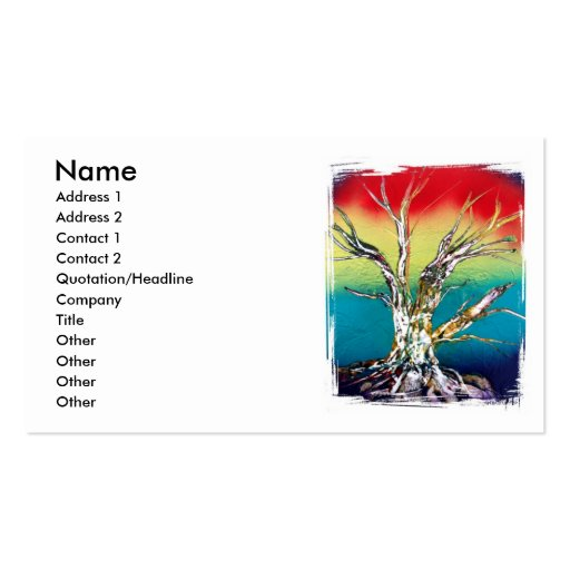 Rasta red yellow green deadwood tree painting business card